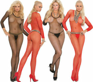 Seamless Fishnet  Bodystocking w/Open Crotch Plus & Reg Size Black or Red Adult
