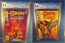 Conan The Barbarian Movie Special #1 & 2 CGC 7.5 & 8.0 Both Newsstand Editions