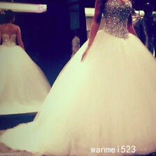 Sparkling Wedding Dresses Ball Gown Puffy White Luxury Crystal Bling Bridal Gown