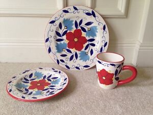 Pier 1 Portalegre Hand Painted Dishes - (4) Three Piece Place Settings - EUC