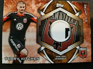 PERRY KITCHEN  2014 Topps MLS Kits Game Used LOGO PATCH Soccer D.C. UNITED L6