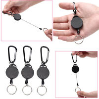 Black Retractable Key Chain Reel Steel Cord Recoil Belt Key Ring Badge Holder w/