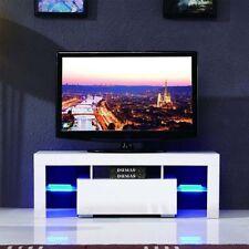 TV Lowboard Board Schrank Fernsehschrank Hochglanz LED 130x35x55cm Weiß EC 03
