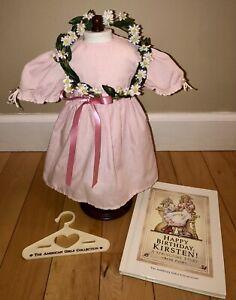 Pleasant Company 1989 KIRSTEN Birthday Dress, Wreath, Hanger, Book