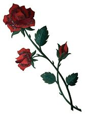 Large Red Rose - Open - Buds on Stem - Iron on Applique/Embroidered Patch