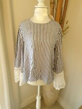 H&M Women's Striped Summer Blouse Style Top Size 12 - BNWT