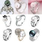 Charm Women 925 Silver Plated Freshwater Pearl Crystal Wedding Rings Birthday #