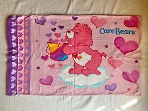 Vintage Care Bears Pillow Case - Pink & Purple - 100% Cotton