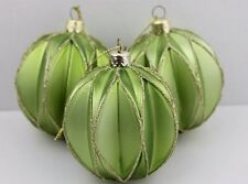 Gisela Graham Natale Matt Green Verde Oliva Decorazione Harlequin glass bauble x 3