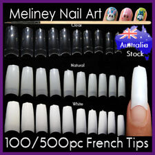 Quality French Nail Tips 100/500Pc Nails False Fake Acrylic Gel UV Square Long