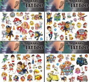 POKEMON Paw Patrol Kids Characters Cartoon Party Loot Bag Temporary Tattoo UK