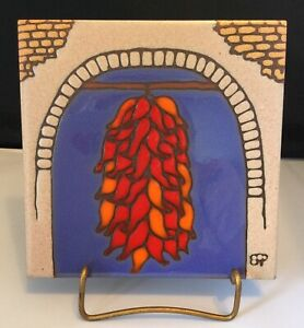 """Prusa 6"""" Tile~Wall Hanging/Hot Plate~Red Peppers Hanging In A Window"""