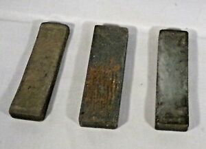 "Trio Whetstones Rectangular 3"" Long x 3/4"" Wide 2 Used Grey Vintage"