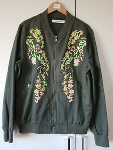 Jubylee Bomber Jacket M/L Khaki Green Full Zip, Women's, Floral Embroidery Print