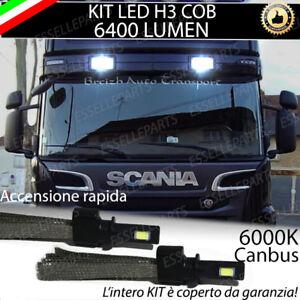 KIT LED H3 PER FARI AGGIUNTIVI SCANIA SERIE R CANBUS BIANCO XENO 6400 LUMEN 24V