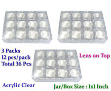 36 PCS OF CLEAR PLASTIC LENS MAGNIFIER ON TOP GEM COINS JAR JEWELRY DISPLAY BOX