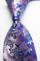New Classic Floral Pink Blue JACQUARD WOVEN 100% Silk Men's Tie Necktie