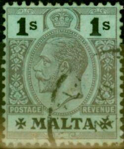Malta 1914 1s Black-Blue Green White Back SG81 Fine Used