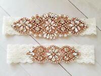Wedding Bridal Garter Set - ROSEGOLD Clear Crystal Pearl Ivory Lace Garter Set