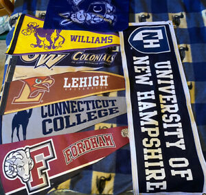 Lot Of 7 Vintage College/University Sports Pennants And Flags