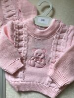 Spanish Knitted Baby Girls Jumper 0-3 3-6 6-9 Months Pink Teddy Bear Chunky