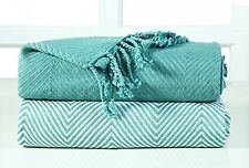 2 x Cotton Throw Single Sofa Bed Blanket Teal Size 125 x 150 Luxury Soft Throws