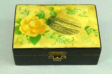*Antique Lacquered Wood Trinket Box, Souvenir of GOUROCK Scotland