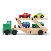 Melissa And Doug Classic Toy Wooden Car Carrier Set Toys Kids,Brand New