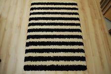 Tapis poil long tendance-shaggy 608 noir crème rayé 120x170cm