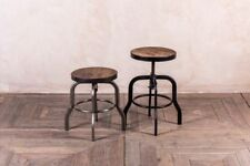 More details for low machinist style metal stools height adjustable dining stools
