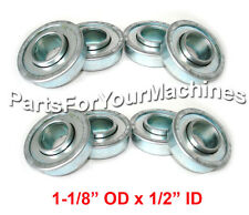 "8-PACK, FLANGED BEARINGS 1-1/8"" OD, 1/2"" ID, GO KARTS, OUTDOOR TOYS, LAWNMOWERS"