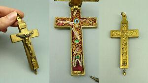 WUPR  Reliquienkreuz Kreuz Kruzifix Reliquie Jesus Christi am Kreuz Messing alt