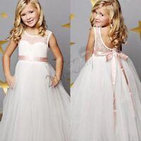 2-12 Yrs Flower Girl Dress Princess Jr. Bridesmaid Birthday Wedding Party Tutu