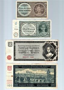 Set of Four 1940 Bohemia and Moravia 1, 5, 50 & 100 Korun German Occupation WW2