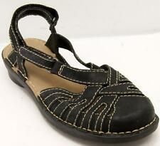 Clarks Nikki Rotary Black Waxy Leather Sling back Women's Shoes Sz 9 M