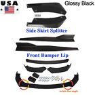 Universal Car Front Rear Bumper Lip Spoiler Diffuser Body + Side Skirt Splitter