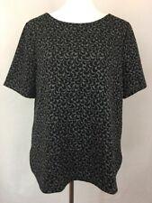 Ann Taylor LOFT Women's Knit Top Sz L Black Gray Blouse NWT Floral Shirt S/S