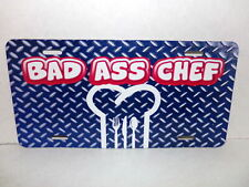 New Bad Ass Chef Automobile License Plate hat spoon knife fork Red White Blue