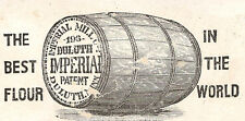1880's DULUTH IMPERIAL FLOUR MILL TRADE CARD, BARREL & WINDMILL, FREE SHIP TC274