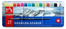 Caran D'Ache Classic Gouache Studio Paint - Metal Tin Set of 15 Colours & Brush