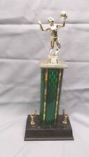 medium Volleyball trophy female green column wide black base eagle trims