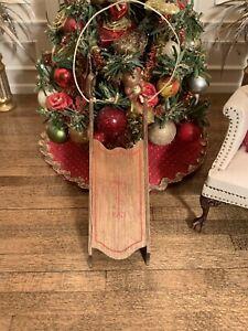Dollhouse Miniature Artisan Signed David Krupick Old Fashioned Wood Sled (R)