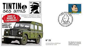 """FDC BELGIQUE """"TINTIN et ses Amis - VOITURE / 4X4 LAND ROVER 109 - ALCAZAR"""" 2014"""