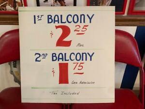 VINTAGE 1957 CHICAGO STADIUM BLACKHAWKS BALCONY TICKETS PRICE SIGN POSTER HOCKEY
