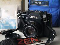 *EXC* Zenit 122 Russian 35mm SLR camera MC Helios 44m-7 portrait lens