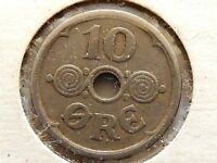 1924 Denmark Ten (10) Ore Coin