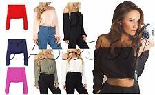 Fashion Women Ladies Celebrity Off Shoulder Bardot Gypsy Crop Tunic Top Blouse