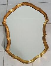 Specchio con cornice in legno dorata primi anni '50