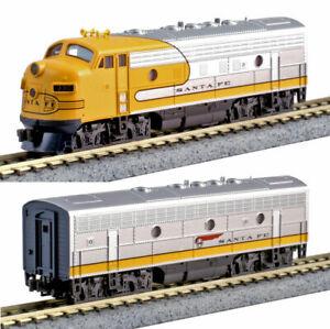 KATO N  COMBO 1762140 + 1762215 N F7A/B SET Santa Fe Yellow Bonnet 176-2140