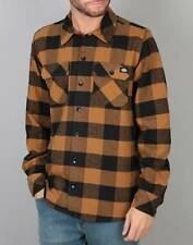 Plaids Front Sleeve amp; Casual Sleeve Checks Dickies Long Men's Button vAqBvxR